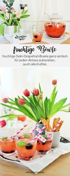 Rezept Sekt-Bowle mit Grapefruit – so einfach eine leckere & fruchtige Sekt-Bowle, auch alkoholfrei, für die nächste Party oder Feiertag umsetzen. Egal ob zum Geburtstag, eine Mottoparty, den JGA/eine Brautparty, die Babyparty…diese Bowle schmeckt im Frühling und Sommer, mit oder ohne Alkohol! // Rezept, Tipps und Fotos von www.partystories.de // #Bowle #Partyrezept #Sekt #Sektbowle #Fruchtbowle  #Frühling #Sommer #Mottoparty #Geburtstag #Muttertag #babyparty #JGA #Brautparty #partystories Slushies, Cocktails, Cantaloupe, Fruit, Breakfast, Pictures, Party Drinks, Punch, Simple