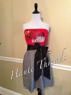 Chicago Blackhawks NHL Hockey Stanley Cup Gameday Tube Strapless T-Shirt Dress with Black Sash Bow - Medium on Etsy, $70.00