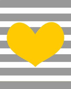 SALE 50 % OFF - Yellow heart on gray stripe background - home art nursery baby shower - choose your color - digital print - 8x10 on A4