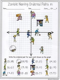 Zombie Naming Ordered Pairs Worksheet Coordinates Math Learning Math Coordinate Graphing