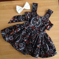 Halloween sugar skull twirly dress newborn to 5t available on Etsy, $40.00