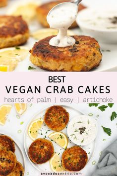 This vegan crab cakes recipe is the best because it is healthy, satisfying and so easy to make! It's gluten-free, made with chickpeas, quinoa, hearts of palm and artichoke hearts! These homemade vegan crab cakes are crispy on the outside but soft on the inside with a perfect texture. Pair it with vegan tartar sauce or dip and make it a main dish or an appetizer! You can add mushrooms or jackfruit and use an air fryer. #vegancrabcakes #heartsofpalmcakes #artichokehearts #heartsofpalm #vegan… Vegan Meal Prep, Vegan Dinner Recipes, Vegan Recipes Easy, Clean Recipes, Cooking Recipes, Vegan Meals, Vegan Food, Free Recipes, Vegan Crab Cake Recipe