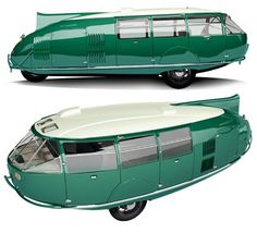 Fuller's Dymaxion car!  30 mpg and fits up to 11 passengers.