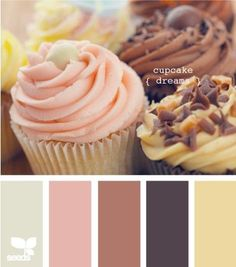 What a lovely and sweet color palette. Fitting that I would choose something that is based on cupcakes. Colour Schemes, Color Combos, Color Tones, Fall Color Palette, Colour Palettes, Design Seeds, Fall Wedding Colors, Green Accents, World Of Color