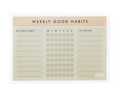 Put pen to paper to help make a positive change to your wellbeing. Make note of good habits to create, set rewards for yourself and check off your progress daily with this Weekly Habits Pad.