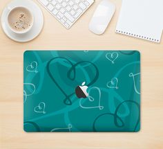 "The Teal Swirly Vector Love Hearts Skin Kit for the 12"" Apple MacBook from DesignSkinz"