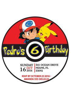Invitación de Pokemon Pokemon van a fiesta de cumpleaños