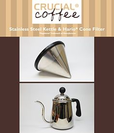 Washable  Reusable Stainless Steel Cone Coffee Filter Fits Hario V60 02  03 Coffee Drippers  Pour Over Kettle Designed  Engineered by Crucial Coffee * Want additional info? Click on the image.