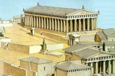 This image shows the Parthenon which is a temple that was built in honor of the god Athena Parthenos (virgin Athena). This temple was rebuilt by the architects Ictinus, Calicrates, and Phidias at the end of the Persian war because it was destroyed. Architecture Antique, Ancient Greek Architecture, Classic Architecture, Architecture Drawings, Athens Acropolis, Athens Greece, Greek Parthenon, Ancient Rome, Ancient Greece