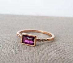 Unique engagement ring, Diamond engagement ring, Rhodolite garnet ring, Baguette engagement ring, Diamond Gold Ring, 18K, Minimal, Gemstone