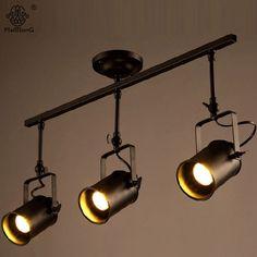 Ретро черный Лофт промышленный подвесной светильник 3 головки фонари трек винтажные Прожекторы для кухни столовой Бар Cothes магазин свет