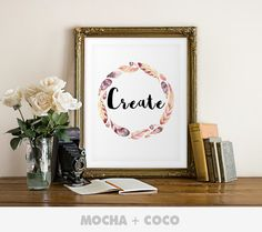 Create Quote Poster | Inspirational Quote, Motivational Art, Typography Floral, Kids, Printable Mocha + Coco, INSTANT FILE DOWNLOAD