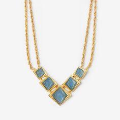 Blue Chalcedony Origami Statement Necklace by ISHARYA Jewelry