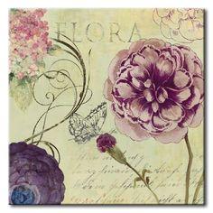 32_WlS30 _ Flora / Cuadro Flores, Flor sobre fondo vintage