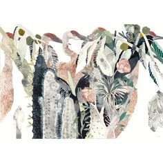 Cranes Garden - Archival Print (£41) ❤ liked on Polyvore featuring art