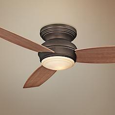 "52"" Traditional Concept Bronze Flushmount LED Ceiling Fan"