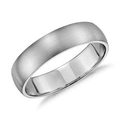 Simply classic, this 14k white gold wedding band features a low profile silhouette, modern brushed finish and a lighter overall weight for comfortable everyday wear.