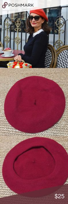Classic Red Beret Parisian Chic Wool Hat French Worn once. Very cute and a closet must have :) Accessories Hats