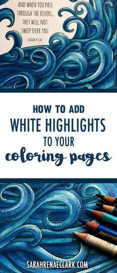 'How to add white pen highlights to your coloring pages...!' (via Sarah Renae Clark - Coloring Book Artist and Designer)