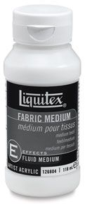 Fabric Medium reduces the stiffness that results when using acrylic directly from the jar, and it also eliminates the need to scrub roughly textured fabrics in order for paint to adhere to or penetrate the surface of the fabric. / A must-have when you're painting or stenciling fabric!