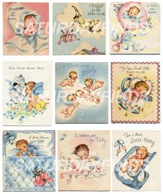 Baby Shower Small Cards No. 3 (of 5) Vintage Greeting Cards - Digital Collage Sheets E-mailed directly to you.  Just Save and Print. via Etsy