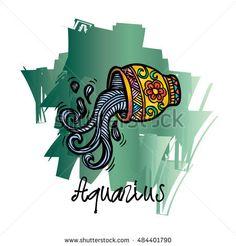 Zodiac sign Aquarius. Zentangle style.