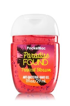 Paradise Found - PocketBac Sanitizing Hand Gel - Bath & Body Works - Now with more happy! NEW PocketBac is perfectly shaped for pockets & purses, making it easy to fight germs on-the-go! Plus, our all-new skin softening formula contains powerful germ-killers that keep your hands clean & soft.