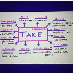 Take - Kids education and learning acts English Sentences, English Vocabulary, English Grammar, English Language, Learn English Kid, English Tips, English Lessons, English Writing, English Study