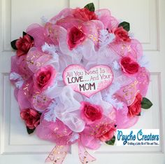 Mother's Day Love Roses White and Pink Deco Mesh Spring Wreath on Etsy, $65.00