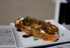 Mushroom and Pancetta Bruschetta      By  Caren McSherry  Mushroom and Pancetta Bruschetta	  Image by Flickr / shutterbean  Try this mushroom and pancetta topping on bread or on chicken or steak  Prepare this snazzy bruschetta as a side or starter, and pair it with a chilled white wine
