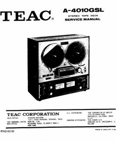 Sony TC-252 reel to reel tape recorder Service Manual