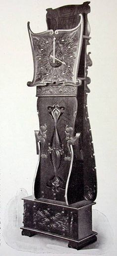 Furniture maker Charles Rohlfs created this clock for his exhibit at the Pan-American Exposition (1901). In 1911 he donated it to the Automobile Club of Buffalo, and it was placed in its Esenwein & Johnson-designed clubhouse.