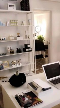 Esthetic room for the solo esthetician Facial Room, Esthetician Room, Spa Rooms, Estheticians, Room Shelves, Ladder Bookcase, My Dream Home, Remodeling, Career