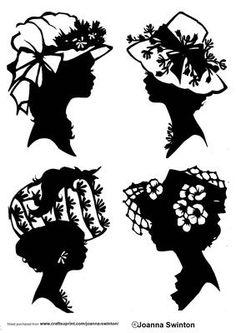 silhouettes Beautiful Ladies Head Silhouettes