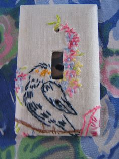 Vintage Embroidered Blue Bird Switch Plate by blissfulnotions