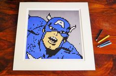 "Captain America print of original Lego® mosaic (12"" square) by OxfordBrickArt on Etsy"