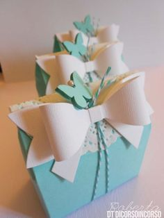 ~Adorable Gift Wrapping~ Decorative box with a Doily,  Turquoise twine, White Ribbon (Austin art die) and a butterfly!  Template