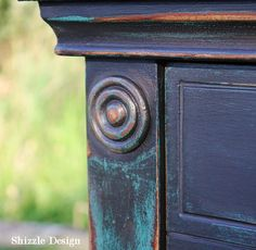 Shizzle Design Painted Furniture Grand Rapids Michigan black teal chalk clay paints console table CeCe Caldwell's Beckley Coal American Paint Company's Dark Antiquing Wax 9