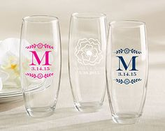 Personalized 9 Oz. Stemless Champagne Glass - perfect for the mimosa bar!