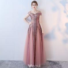 Amazing / Unique Blushing Pink Evening Dresses 2017 A-Line / Princess Pierced V-Neck Short Sleeve Beading Sequins Floor-Length / Long Ruffle Backless Formal Dresses