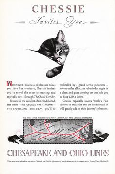 1939 CHESAPEAKE & OHIO Railways Advertisement Chessie the Cat by phorgotten