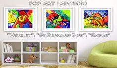 #StBernardDog #PopArtPainting #AnimalPrint #KidsWallArt #InstantDownload #KidsRoomWallDecor #DogPainting #WatercolorPainting  #WatercolorPrint #DogArt #Poster #ArtPrint #PrintableArt #NurseryArt #KidsRoomDecor #PopArtPrint #DigitalDownload #ChildrenArt #Poster by #JuliaApostolova Dolphin Painting, Love Birds Painting, Eagle Painting, Painting Art, Dog Paintings, Small Paintings, Kids Room Art, Art Wall Kids, Dog Pop Art