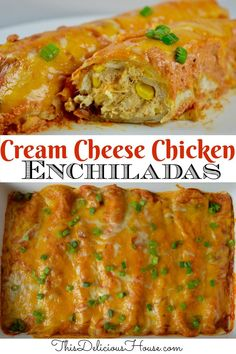 The BEST enchilada recipe! These cream cheese chicken enchiladas are topped with a sour cream enchilada sauce. #creamcheeseenchiladas #chickenenchiladas Sour Cream Enchilada Sauce, Cream Cheese Enchiladas, Best Enchiladas, Chicken Enchiladas, Street Tacos, Cream Cheese Chicken, Mexican Food Recipes, Ethnic Recipes, Taco Bar