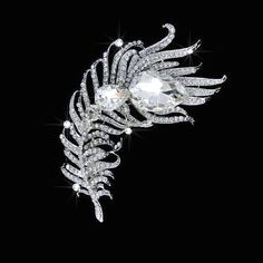 Beautiful Vintage Inspired Crystal Rhinestone Feather Brooch (Sparkle-1732)
