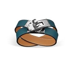 "Kelly Double Tour Hermes leather bracelet (size M) Mallard blue swift calfskin<br /><br />Palladium plated hardware, 15.5"" long, 2.5"" diameter, 0.5"" wide, 6.7"" circumference.<br />"
