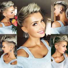 Blonde Pixie Cut - 90 Classy and Simple Short Hairstyles for Women over 50 - The Trending Hairstyle Short Spiky Hairstyles, Short Hair Undercut, Short Pixie Haircuts, Short Hair Cuts, Pixie Cuts, Trendy Hairstyles, Buzzed Pixie, Shaved Pixie Cut, Undercut Hairstyles Women