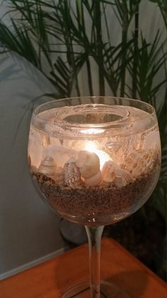 Beautiful Sea Shell Beach Wine Glass Gel Candle by BerrusCrafts