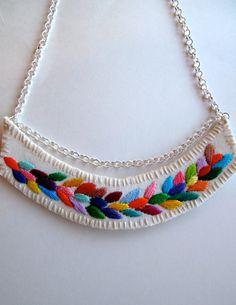 Embroidered necklace multicolored laurel leaf by AnAstridEndeavor