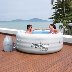 Lay Z Spa Vegas has all the features and benefits of a traditional spa but at a fraction of the price with the added bonus of being portable! This inflatable hot tub holds up to 4-6 adults. The pump system heats the water temperatxure to 40°C allowing you to fully enjoy the hydrotherapy benefits of the Lay Z Massage system.