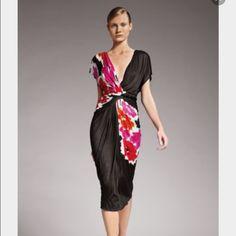 Donna Karan collection dress Resort /pre spring 2010 printed jersey dress! Full liner (black jersey) and attached braided belt. Hemmed for a petite stature. Donna karan Dresses